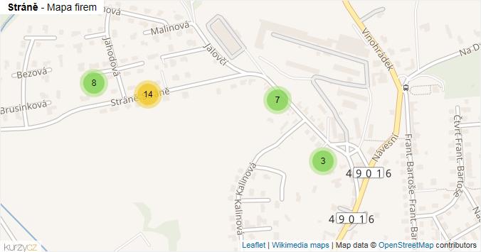 Mapa Stráně - Firmy v ulici.