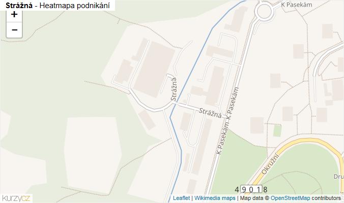 Mapa Strážná - Firmy v ulici.