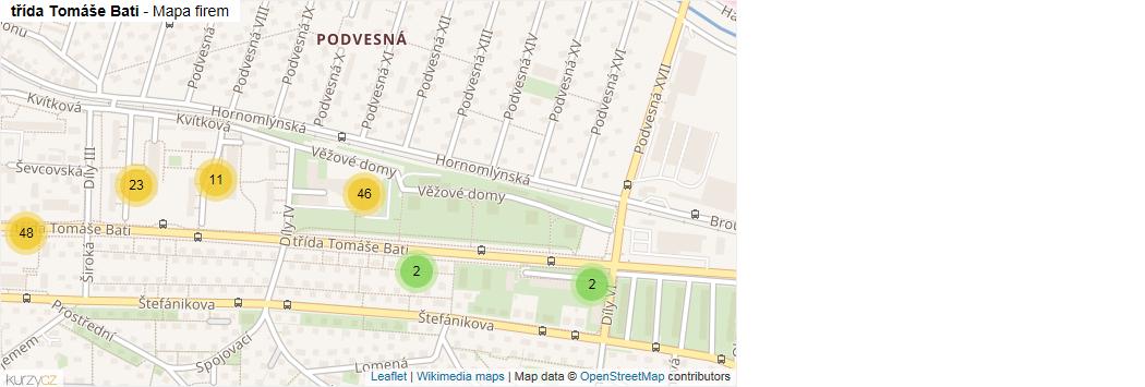 Mapa třída Tomáše Bati - Firmy v ulici.