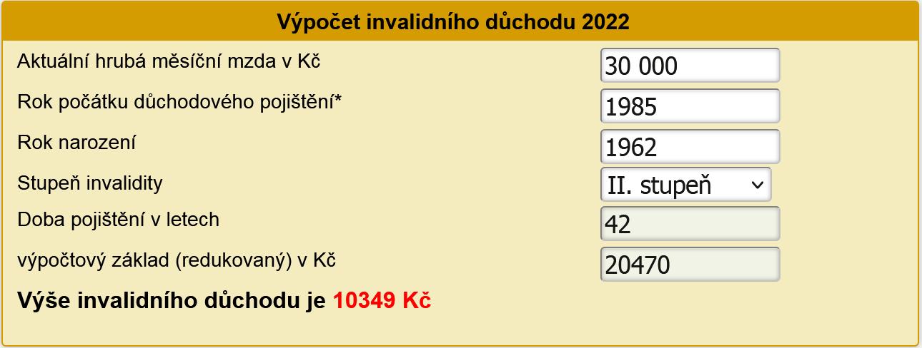 Výpočet invalidního důchodu 2022