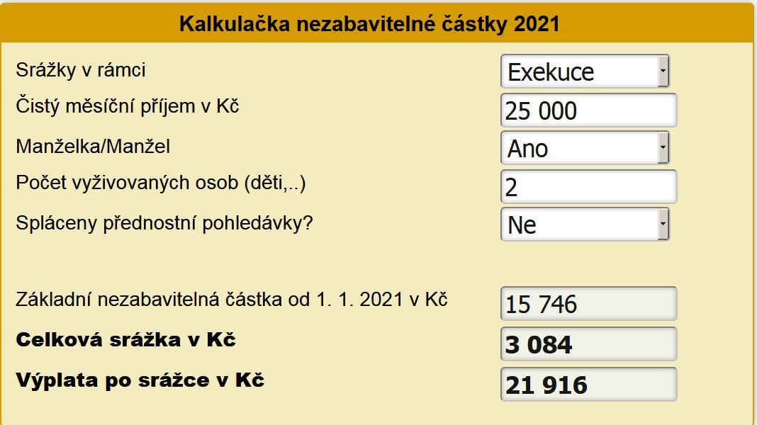 Kalkulačka nezabavitelné částky 2021