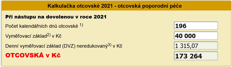 Kalkulačka otcovské 2021