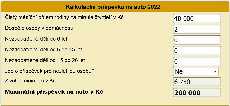 Kalkulačka příspěvku na auto