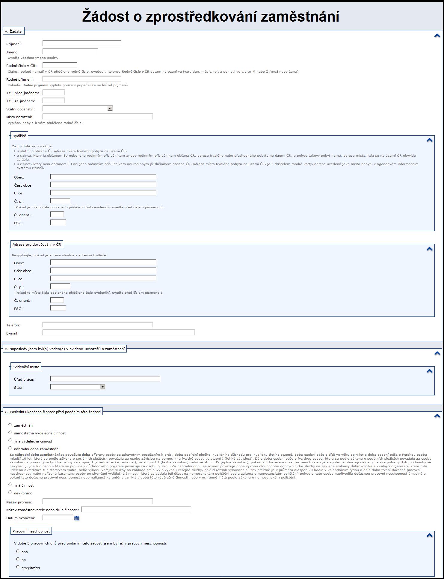 Žádost o zprostředkování zaměstnání