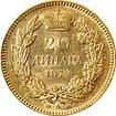 Zlatá mince 20 Dinara Kníže Milan Obrenović IV. 1879