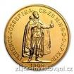 Zlatá mince Stokoruna Františka Josefa I. Uhersko 1908 -stojící panovník 100 koruna