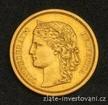 Zlatá mince švýcarský dvacetifrank-Helvetica 1886 20 frank