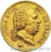 Zlatá mince francouzský dvacetifrank Louis XVIII. 20 frank