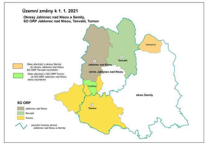 Kartogram - Územní změny v okresech Jablonec nad Nisou a Semily k 1. 1. 2021