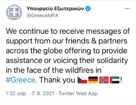 Poděkování řeckého ministra zahraničí